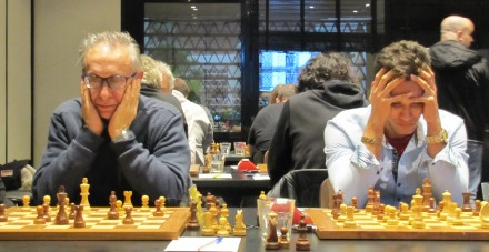 From left IM Lennis Martinez (board 2) and IM Angel Martin Gonzales (board 1 of Club d'Escacs Barcelona. Photo credit Kim Bhari.