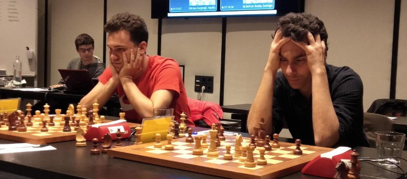 GM Alan Pichot of and GM Fernando Peralta playing board one and two respectively of L'Escola D'Escacs De Barcelona. Photo credit Kim Bhari.