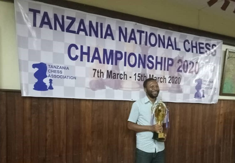 The proud winner of the 2020 Tanzania National Chess Championship FM Hemed Mlawa. Photo credit Tanzania Chess Association.