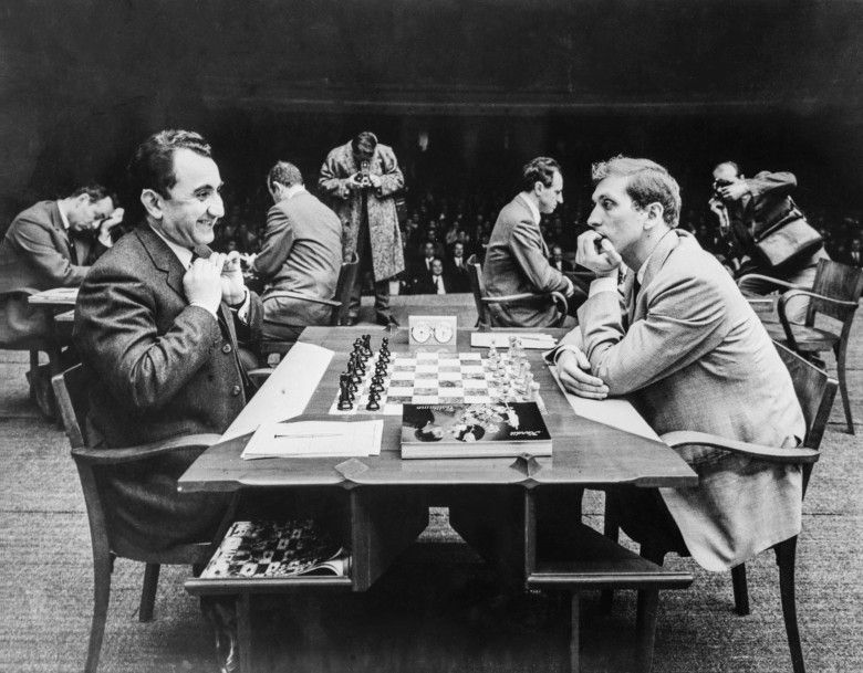 Fischer facing Petrosian in the USSR v Rest of the World Match. Photo credit: Vasily Egorov/TASS.