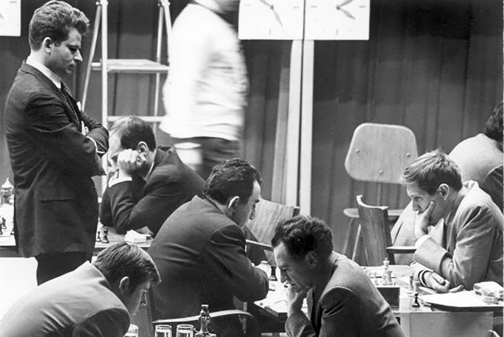 World Champion Spassky watching Fischer vs. Petrosian during the USSR v Rest of the World. Photo credit Russian National Public Library for Science and Technology.