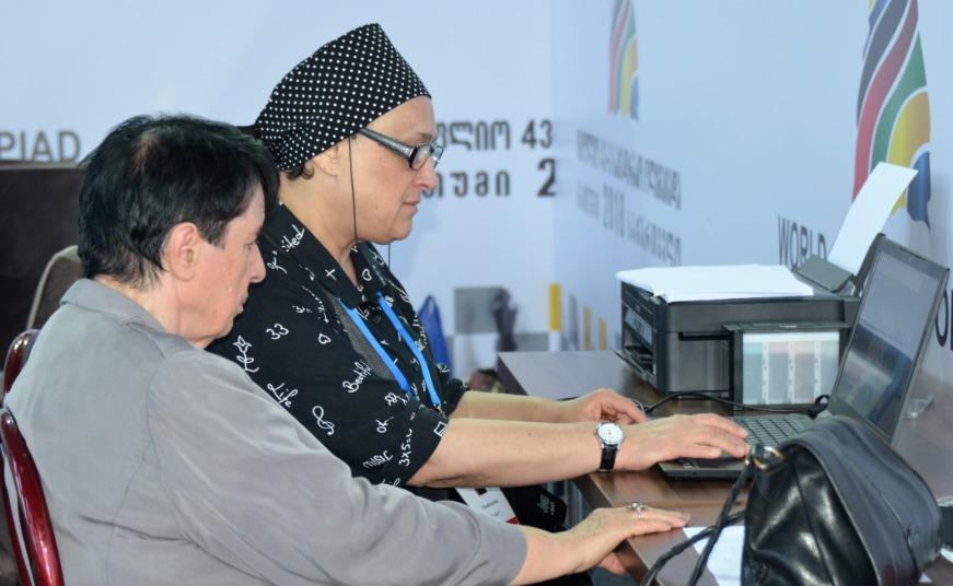 Nona Gaprindashvili and Maia Chiburdanidze checking out the live games during the 2018 Batumi Olympiad. Photo credit Kim Bhari.