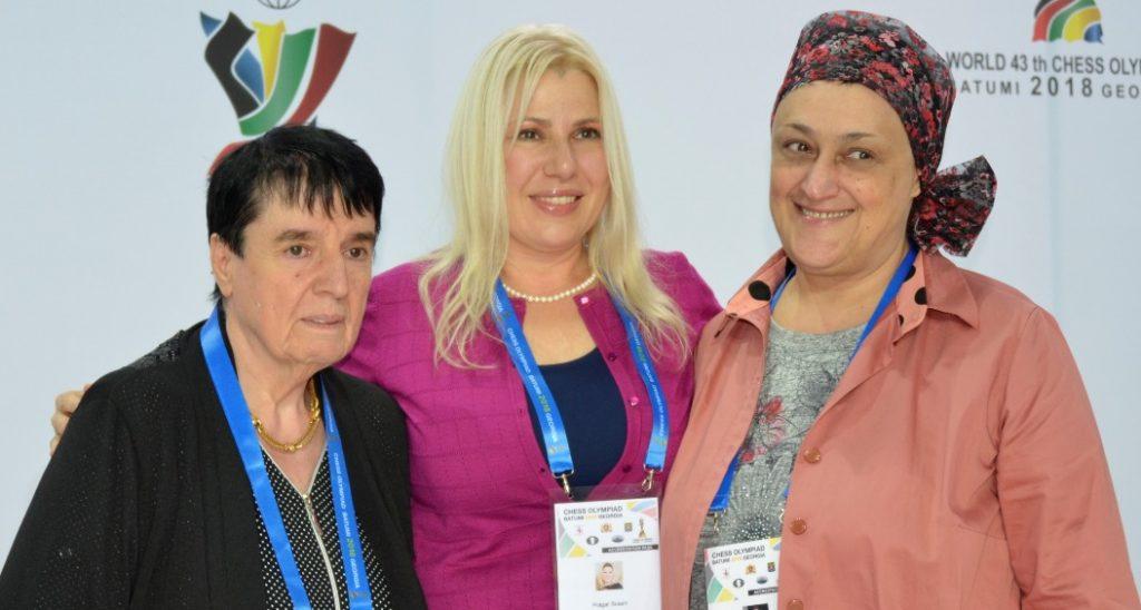 Three World Chess Championships from left Nona Gaprindashvili, Susan Polgar, Maia Chiburdanidze pose at the 2018 Chess Olympiad in Batumi, Georgia. Photo credit Kim Bhari.