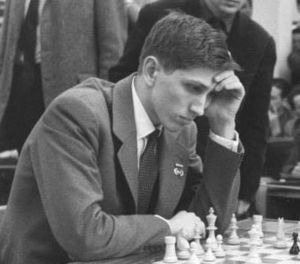 Bobby Fischer playing in Leipzig in 1960. Photo credit www.kiddle.co