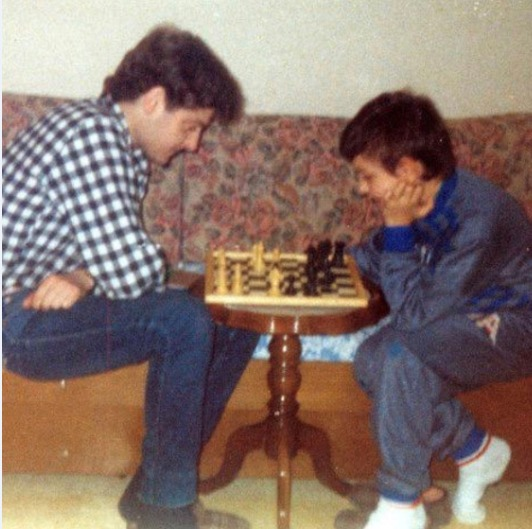 David Llada (right) in his youth playing a game against an uncle.