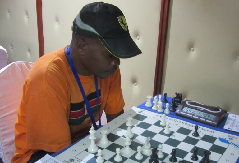 The late Owino' Zero' Magana during the Millionaire Open Chess Tournament held in Nairobi held in May 2015. Photo credit Kim Bhari.