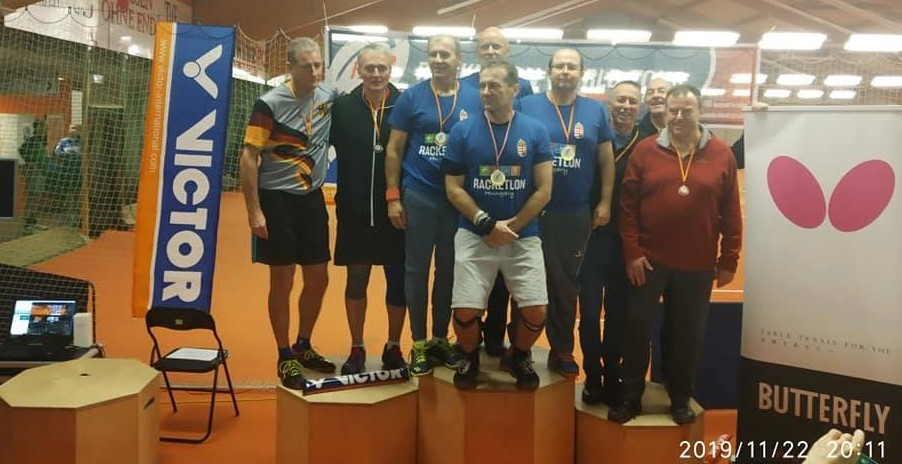 Tibor Karolyi (6th from the left) as part of the Hungarian Team that won the Senior Racketlon Team Championship, Leipzig, Germany in 2019.