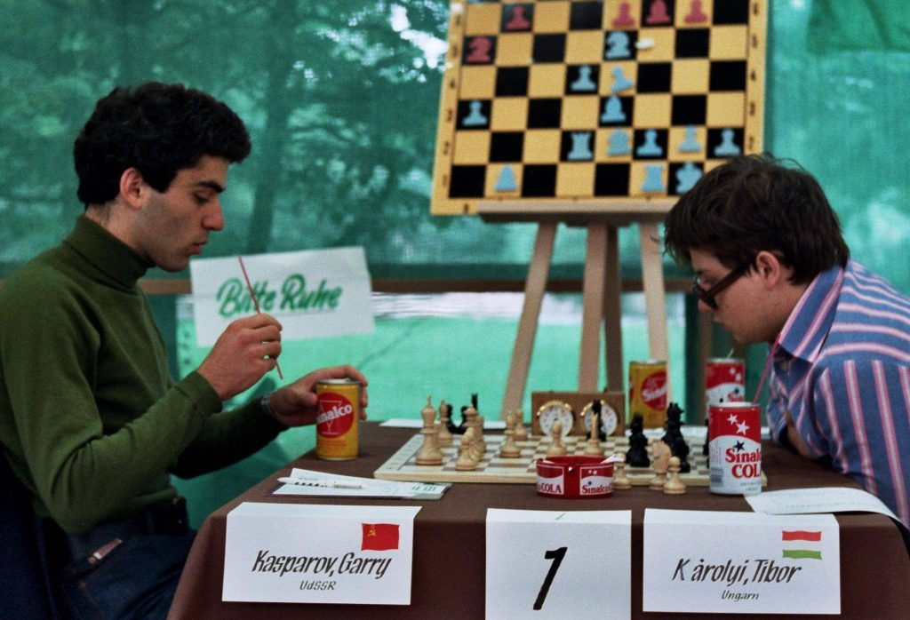 IM Tibor Karolyi (right) ponders his move after Gary Kasparov played Ne4 during the 19th World Junior Chess Championship held in Dortmund, Germany in 1980. Photo credit Tibor Karolyi.