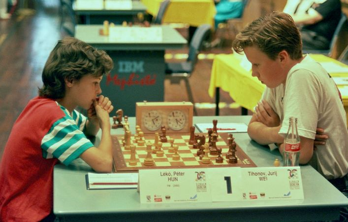 13 year old Peter Leko (left) in action against Tihonov in 1992. Photo credit https://kids.kiddle.co/Peter_Leko.