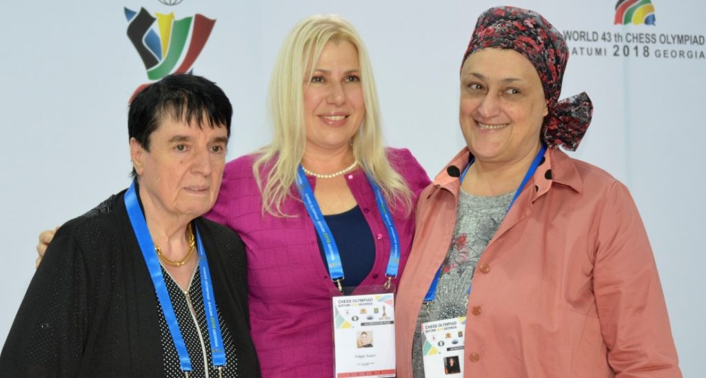 Three World Chess Champions from left - Nona Gaprindashvili, . Zsuzsa Polgar and Maia Chiburdanidze pose for a photo during the 2018 Batumi Olympiad. Photo credit Kim Bhari.