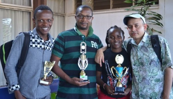 Photo from the good old days. From left Timothy Milton, Ben Nguku, Jane Wambugu & Mehul Gohil pose at the end of the 2016 Kenya Open.