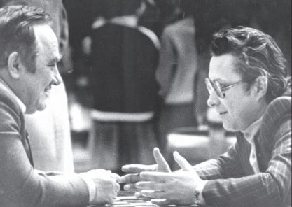 Efim Geller & Evgeny Vasiukov having a chat. Sample photo from the book.
