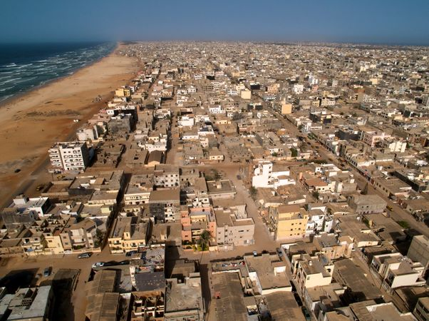 Aerial view of Yoff Commune, Dakar.