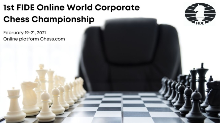 Poster for the 1st FIDE Online World Corporate Chess Championship.