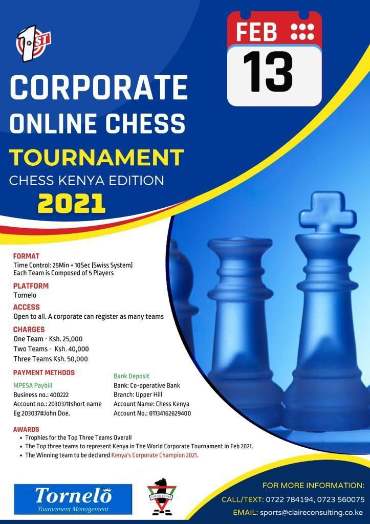 Poster for the Corporate Online Chess Tournament.