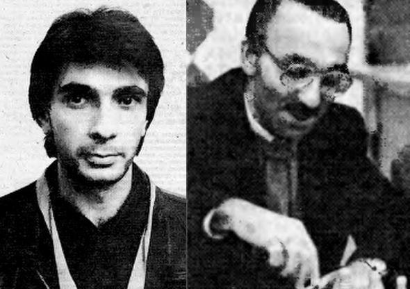 Arthashes Minasian (left) and Elmar Magerramov the joint winners of the last Soviet Chess Championship held in 1991.  Photo credits Бори́с Galatiknova.