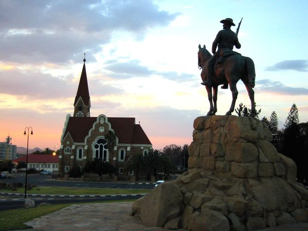German church and monument to colonists in Windhoek.