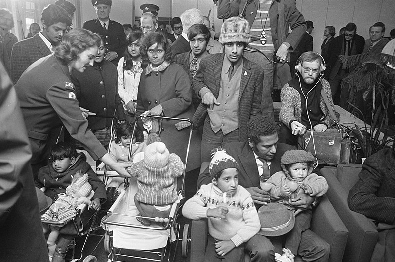 Ugandan Indians in Schiphol Airport in Amsterdam after being expelled by President Idi Amin. Photo credit Wiki Commons.s.