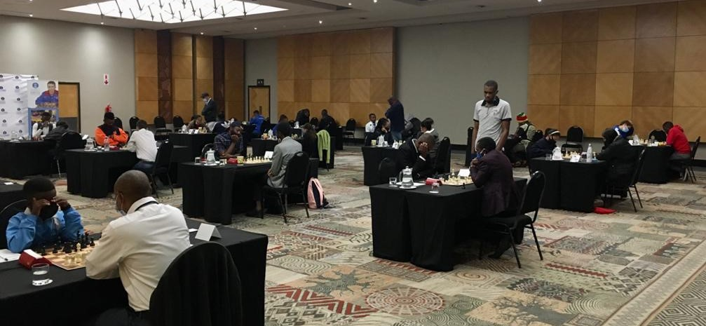 The playing hall at the 2021 Namibian Closed Chess Championship. Photo credit Namibian Chess Federation.