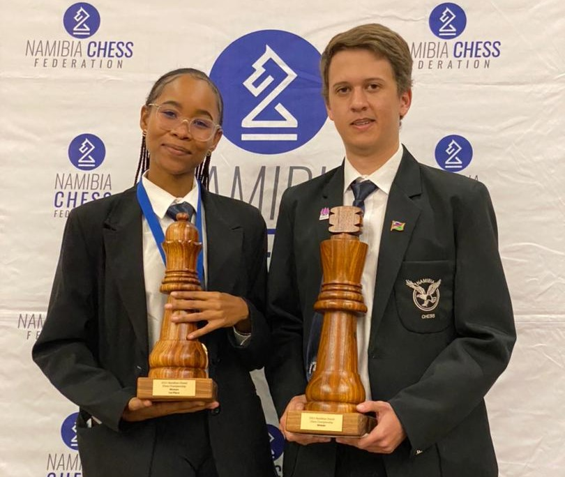 Proud winners of the 2021 Namibian Closed Chess Championship WCM Lishen Mentile & IM Dante Beukes. Photo credit Namibian Chess Federation.