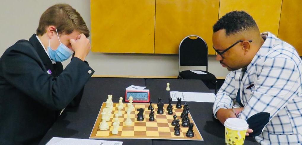 IM Dante Beukes takes on Bernhard Schwarz in their encounter. Photos credit Namibian Chess Federation.