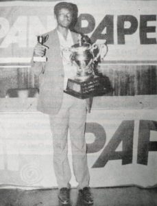 The late Edward Ssentongo after winning the 1993 Kenya Open that was sponsored by Pan Paper.