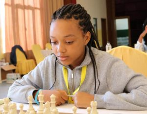 15 year old star Naledi Marape of Botswana who ended up with an impressive 5.5 points out of 9 rounds.