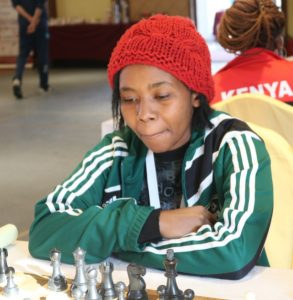 WFM Sasha Mongeli of Kenya who put up a fine performance in her maiden African continental event with 5.5 points out of 9 rounds.