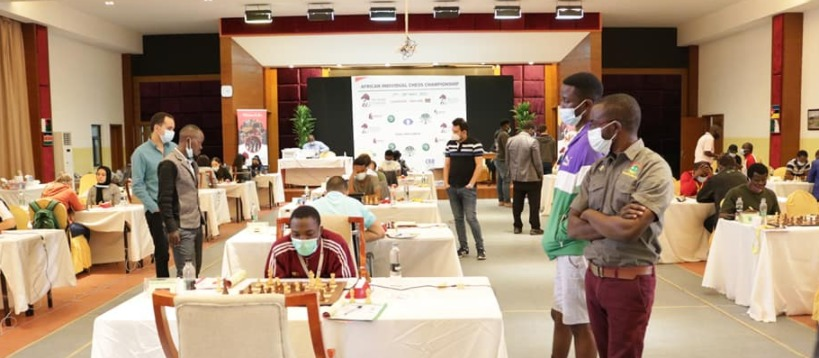View of the playing hall of the 2021 African Individual Chess Championship.