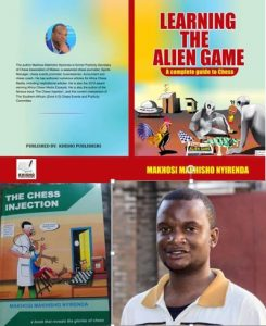 Malawi's most famous chess son Makhosi Nyirenda with his two chess books.