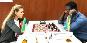 Nadezhda Marochkina (left) takes on Mouhamadou Falilou Dioum in their match which ended in a draw.