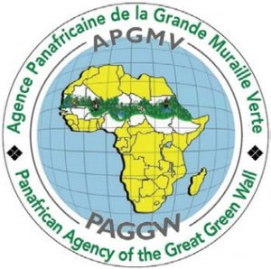 he logo of the Great Green Wall initiative, showing participating countries and a representation of the area focused on.