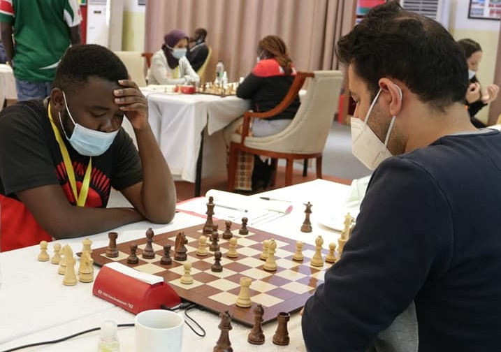 FM Joseph Mwale of Malawi left takes on eventual winner GM Ahmed Adly of Egypt.