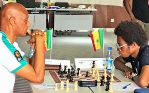 Mansour Gbedo Sy (left) takes on Mouhamadou Mourtada Fall in their game.