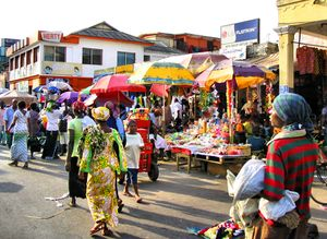 Accra market scene.