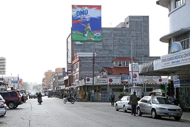 Kenyatta Avenue in downtown Nakuru. Photo credit Wikicommons.