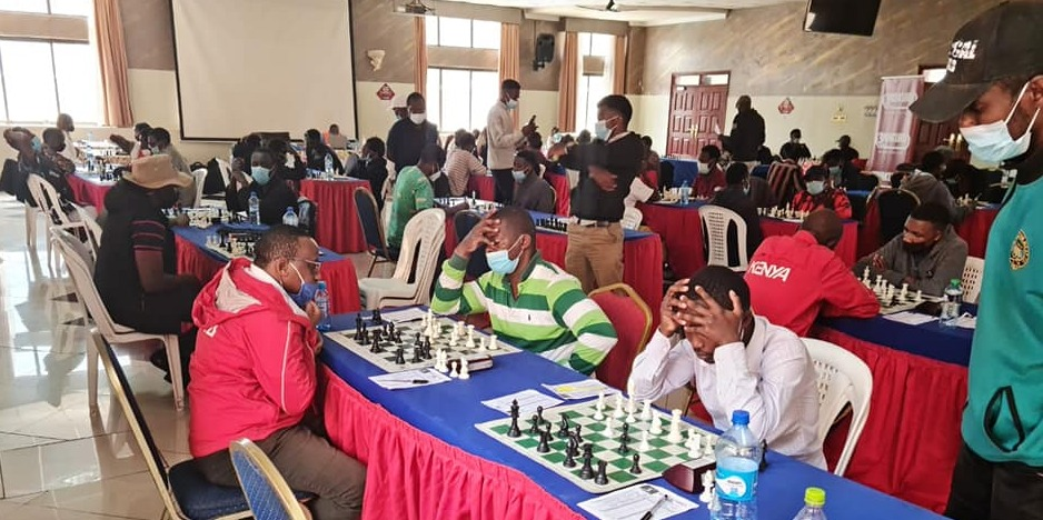 The playing hall at the 2021 Nakuru Open. Photo credit 64 Chess Squares.