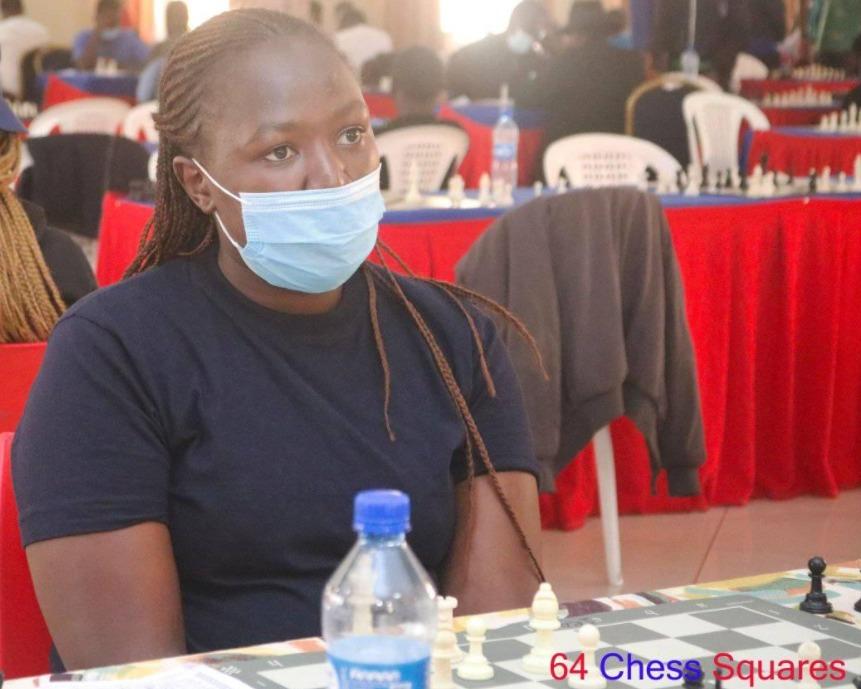 WCM Joyce Nyaruai in action during the 2021 Nakuru Open. Photo credit 64 Chess Squares.