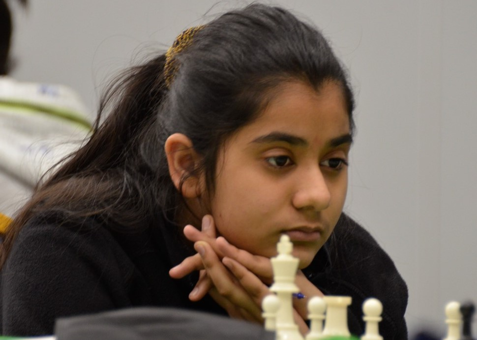 13-year-old Lakshita Dutt, the top lady player from Malawi in action.