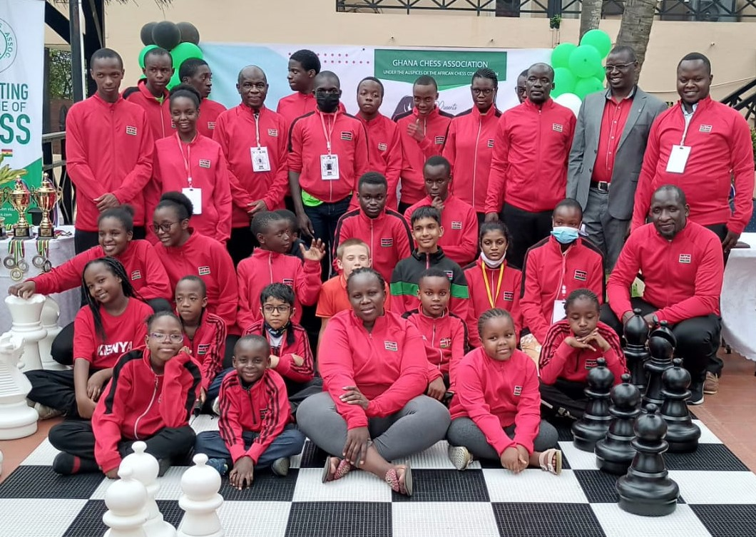 Team Kenya at the 2021 African Youth Chess Championship which was held in Accra, Ghana. Photo credit Rodah Etole.