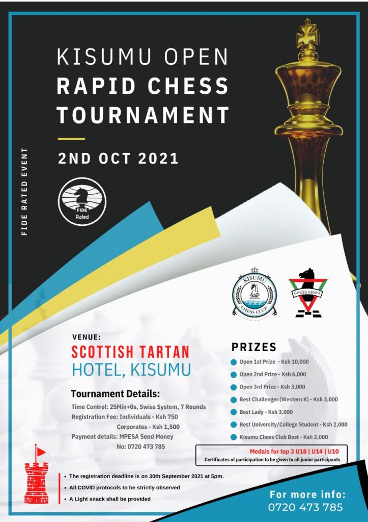 Poster of the Kisumu Open Rapid Chess Tournament.